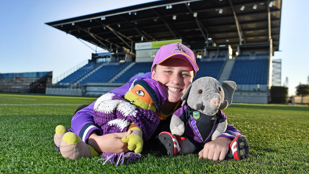 Storm fan Slater Thompson is ready for Friday's big game between Melbourne and Gold Coast. Photo Patrick Woods / Sunshine Coast Daily.