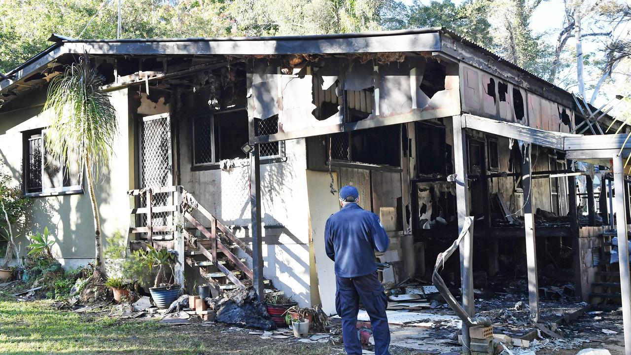 A post-war Parklands house was destroyed by fire on Wednesday night. Photo: Patrick Woods / Sunshine Coast Daily.