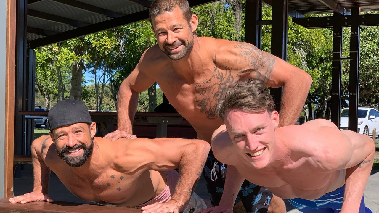 TWINJAS: Coast based twins Matt and Luke Filippi, pictured with fellow contestant Rainer Scheu, are ready for season four of Australian Ninja Warrior.