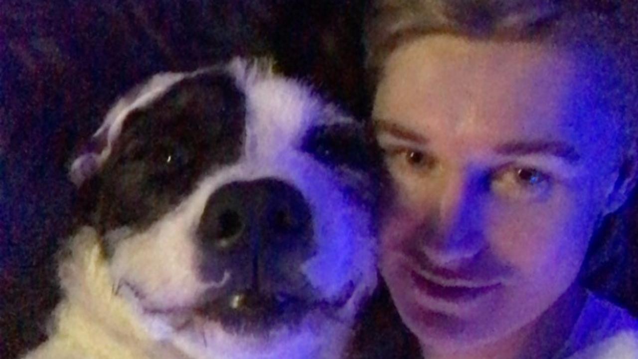 Maryborough's Zac Bradshaw with his dog, wolfhound-cross Kirito.