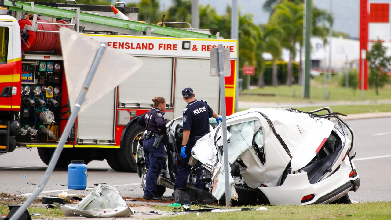 Police work at the scene of a fatal car crash in Townsville in June. Picture: AAP