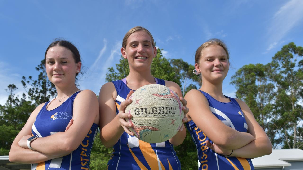 Gympie and Districts Netball Club - Matilda Gook, Breanna Pearce and Hannah Ward. Photo: Bec Singh