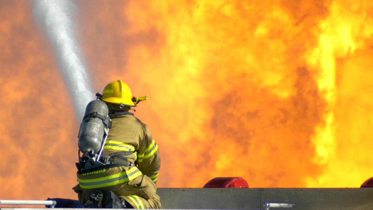 Intense firefighting. blaze. inferno. firefighter. Fire. Generic image.