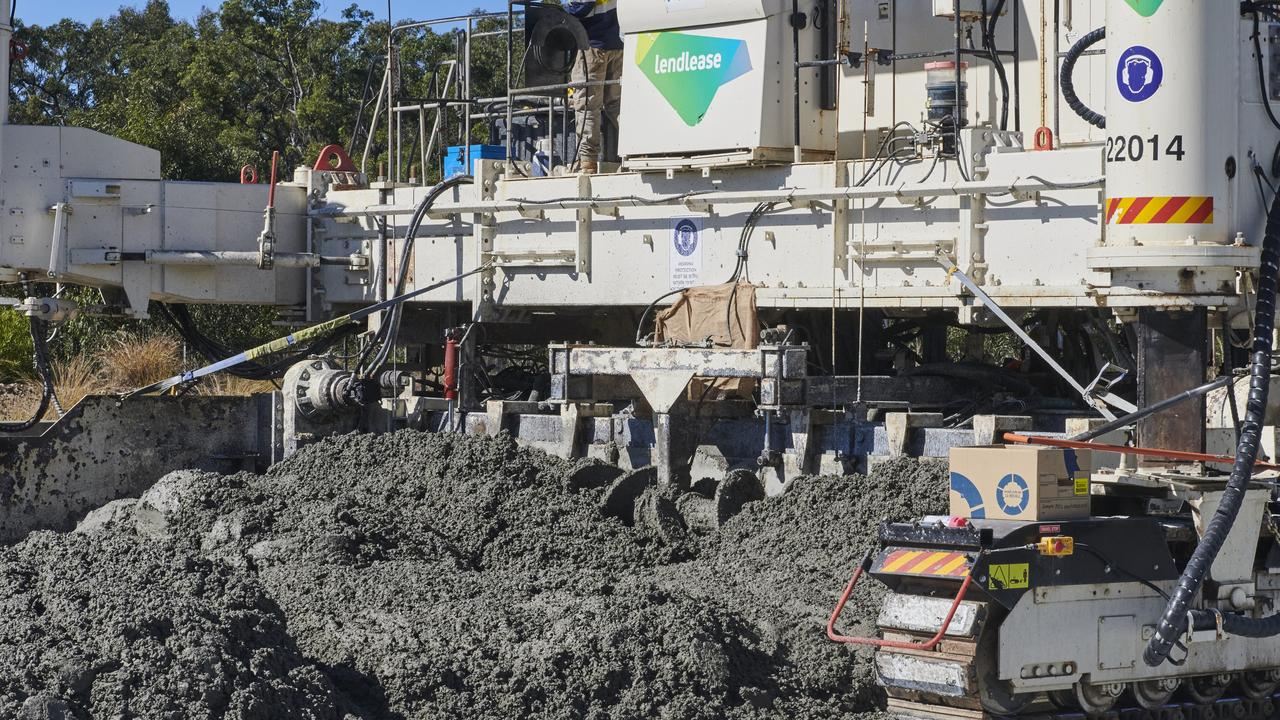 The concrete paver that can lay up to 800m of new road a day gets to work on the 8km section from Wells Crossing to Glenugie on the Pacific Highway upgrade.