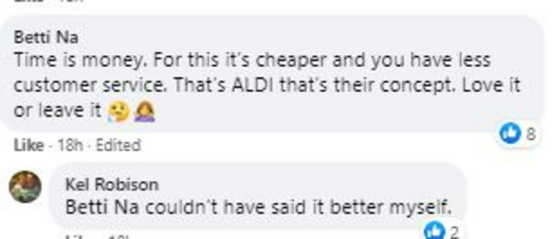 However many came to Aldi's defence. Picture: Facebook/AldiMums