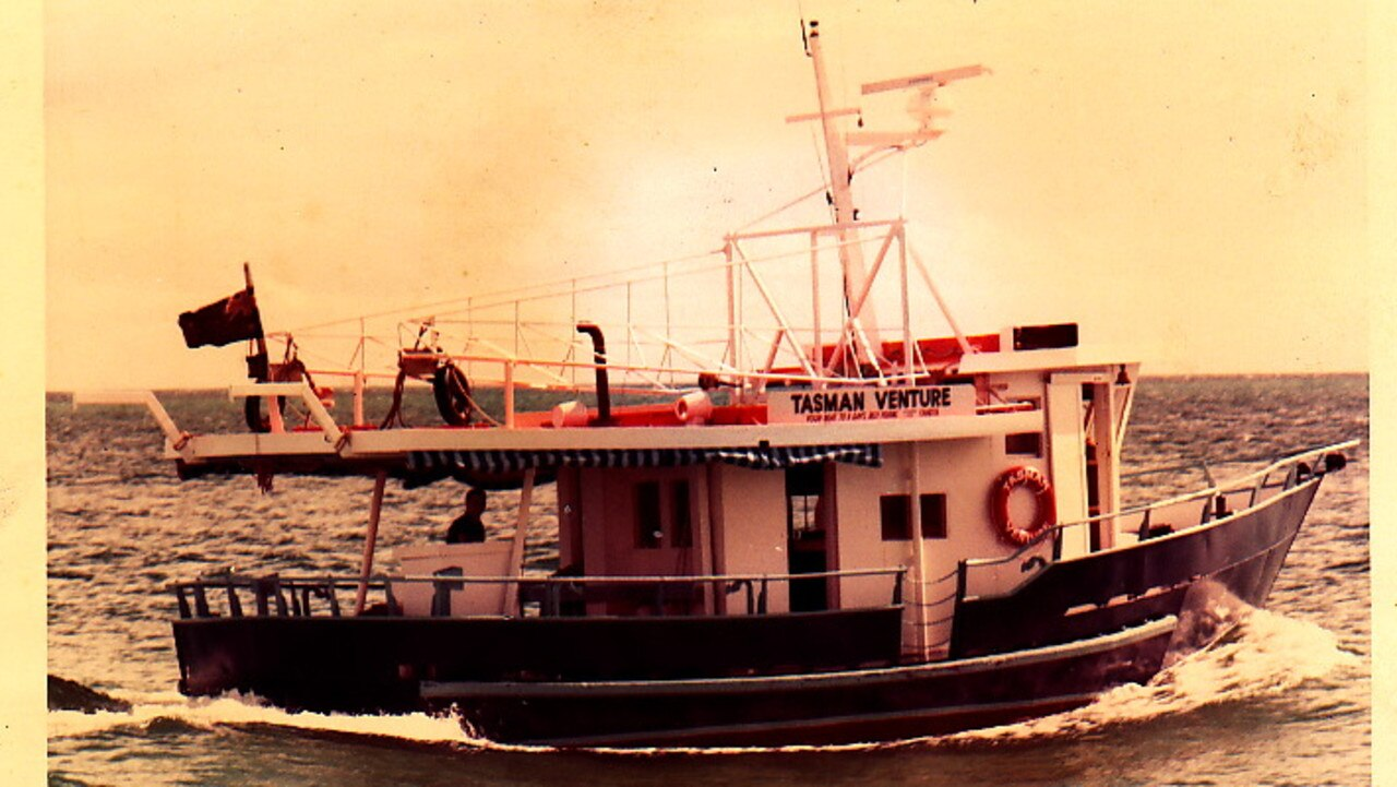 Brian and Jill Perry's first boat, Tasman Venture, during their first year of whale watching on the east coast.