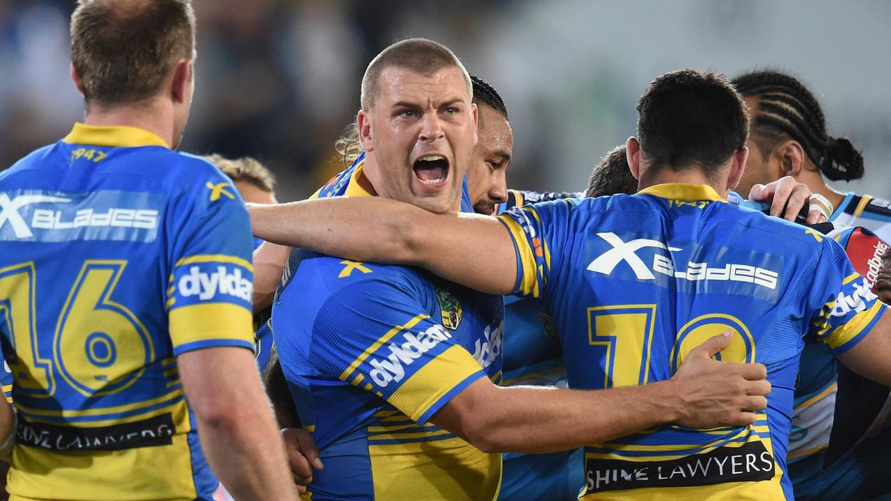 Danny Wicks during his two-year stint with the Parramatta Eels in the NRL before his triumphant return junior club Grafton Ghosts where he won Group 2 premierships in 2017 and 2019. (AAP Image/Dave Hunt)