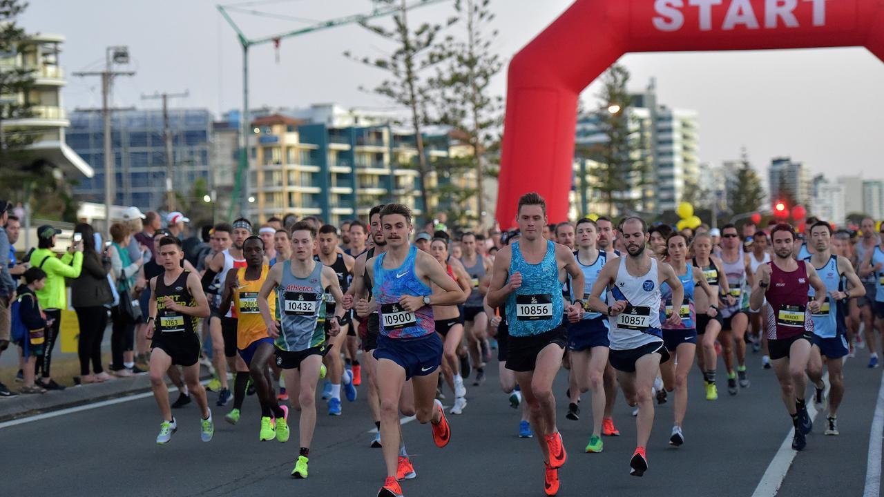 Runners take part in the Sunshine Coast Marathon. Start of the race.