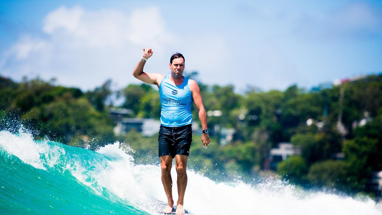 Josh Constable (AUS) advances directly into Round 5, Heat 3 after winning Round 4, Heat 3 at the 2019 Noosa Longboard Festival, Noosa Heads, QLD, Australia.