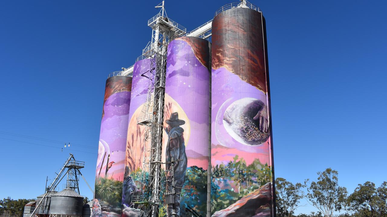 The completed silo art murals at Three Moon near Monto. Picture: Sam Turner