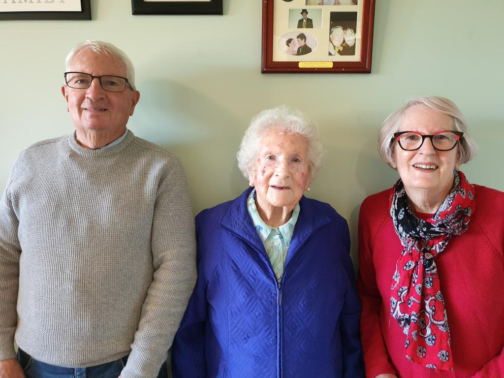 PARTY: Phyllis Brown pictured here with her son, Peter Brown, and daughter, Rhonda Andrews as she celebrates turning 100.
