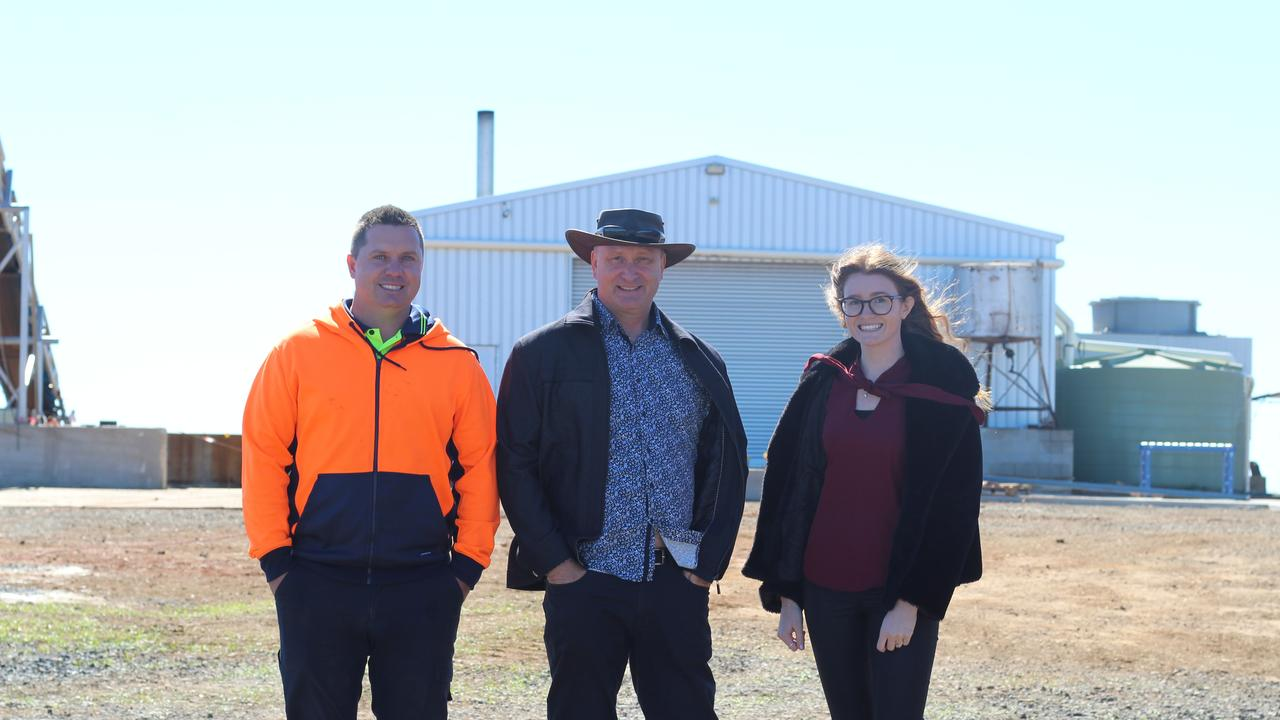 BIG PLANS: Grant Yeatman, Ray Mountfort and Mikaela Mountfort at the Essential Queensland site north of Childers.