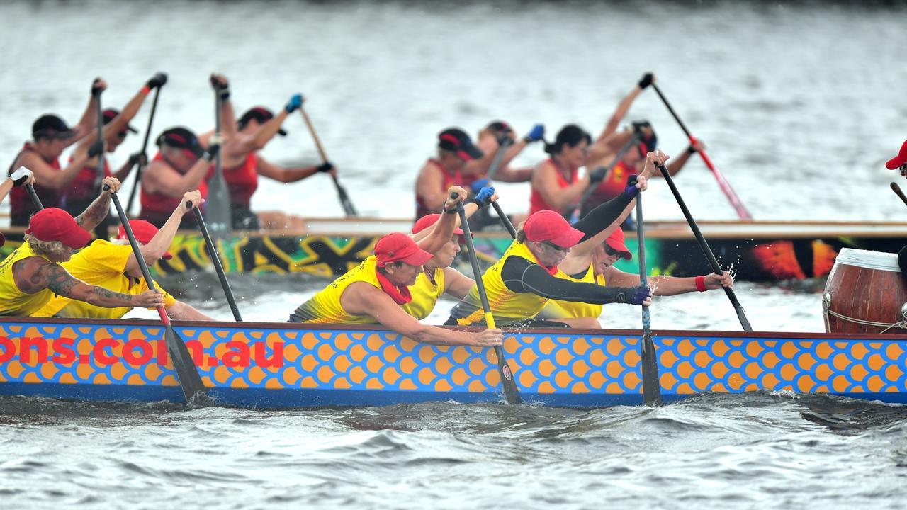 2020 Queensland Dragon Boat State Championships at Lake Kawana. Senior C Women's team, the Maroochy Sea Serpents. Photo: John McCutcheon / Sunshine Coast Daily