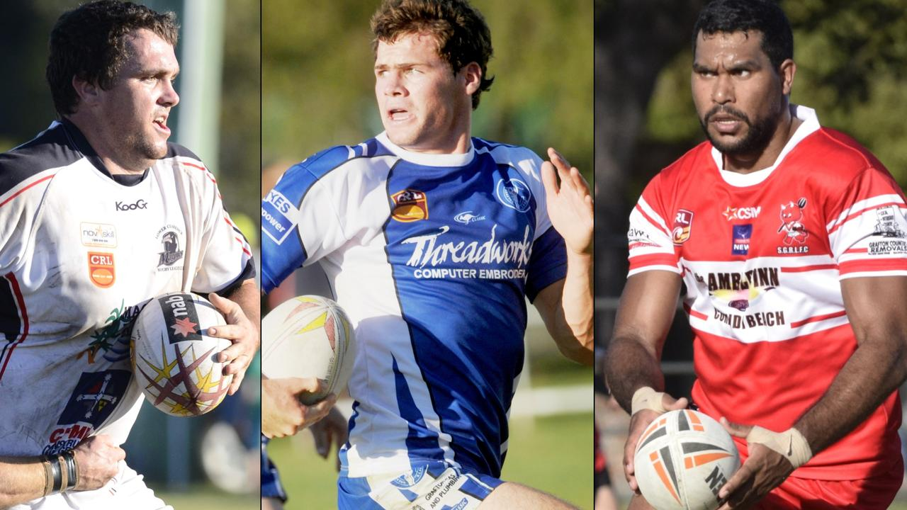 DREAM TEAM ASSEMBLED: Lower Clarence Magpies man Ryan Binge, Grafton Ghosts product Anthony Don and South Grafton Rebels star Hughie Stanley were all voted into the Clarence Valley Dream Team of the Decade. Photos: Matt Elkerton, Debrah Novak