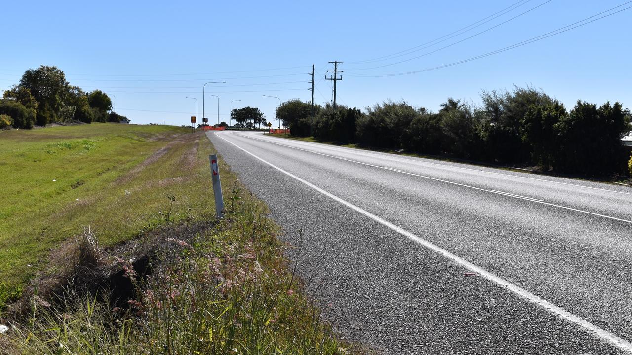 Eimeo Road in Rural View the day after a woman, 33, was struck and killed by a passing car. The woman's four children in a Commodore parked on the side of the road witnessed the incident.