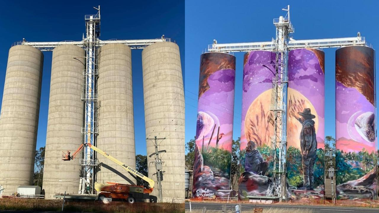 INCREDIBLE: The before and after of the grain silos at Three Moon. Picture: MMTAG/Sam Turner
