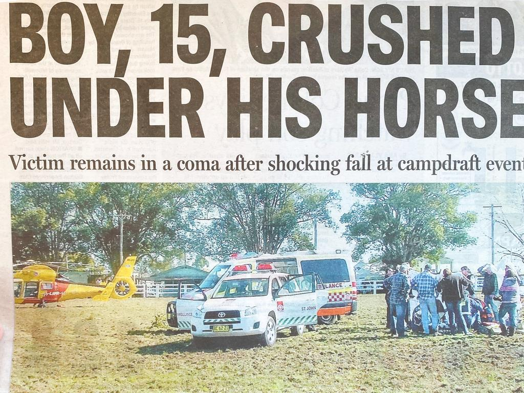The Daily Examiner's front page covering Thomas Graham's fall at the Ulmarra Campdraft.
