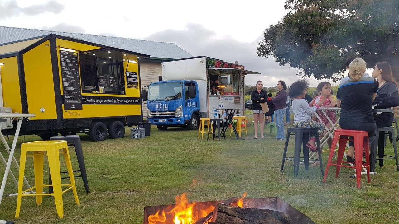 The Let'z Waffle and Nisaki Greek Yiros food trucks serving the residents at Habana. Picture: Palmina Rae