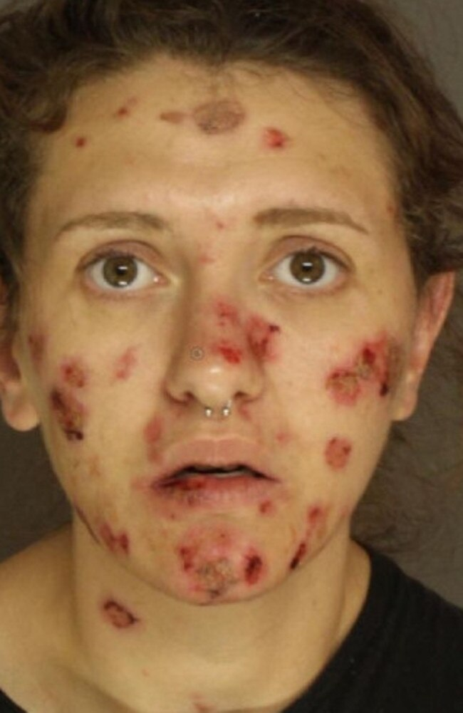 Elizabeth Ann Pennypacker's shocking decline from taking meth is shown in her police mugshot after an arrest. Picture: East Pennsboro Township PD