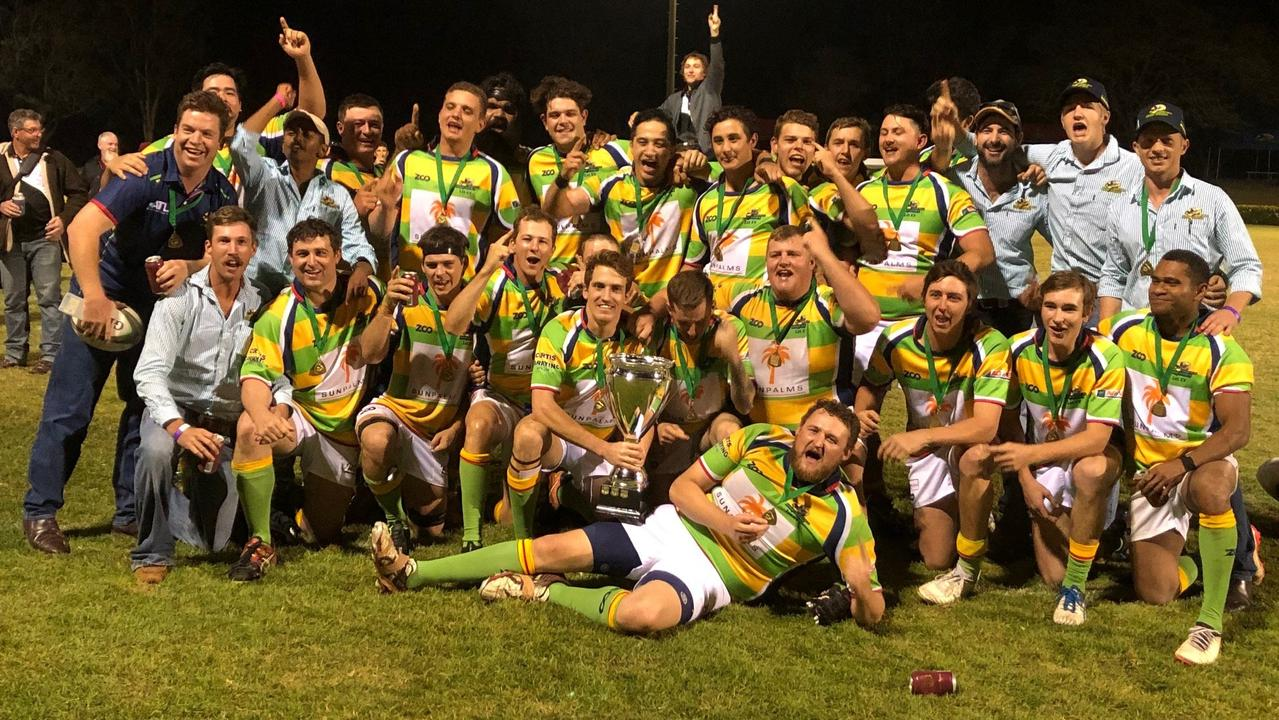 Dawson Valley Drovers, pictured celebrating their grand final win last year, won't play in the Rugby Capricornia competition this year.