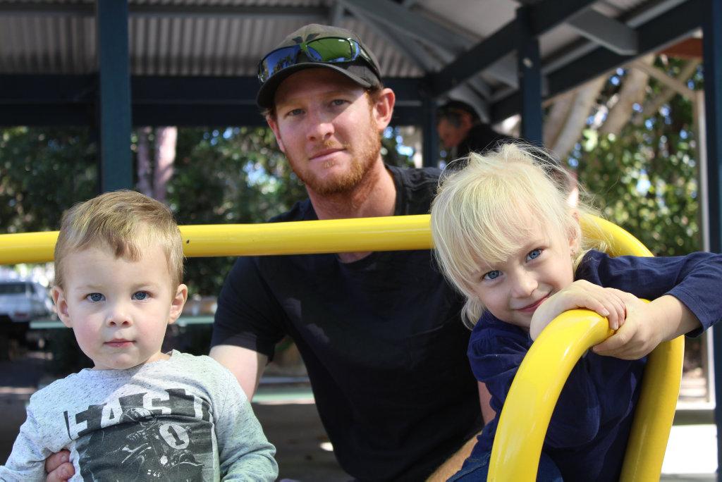 Layton, Kurt and Harper Gambower having fun at the Botanic Gardens on Saturday.