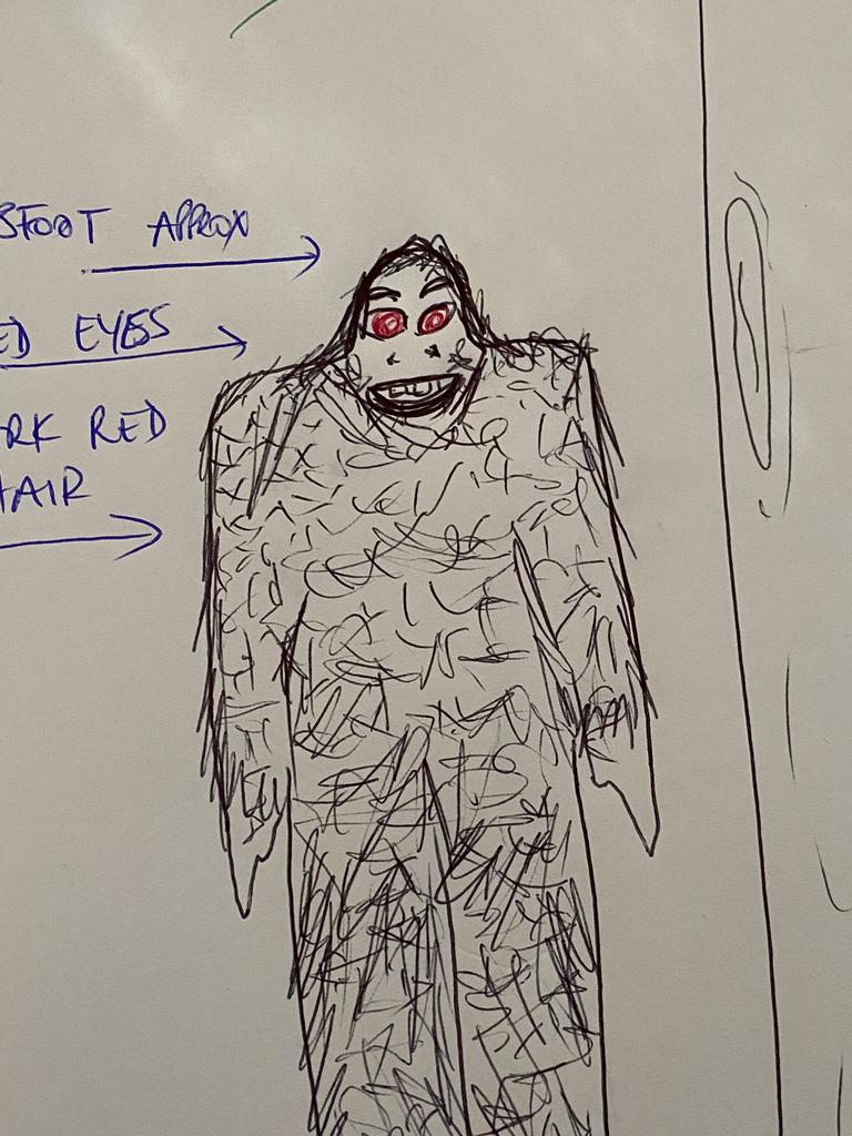 A witness sketch of the 1978 'yowie sighting' that allegedly took place at Palm Beach. CREDIT: Australian Yowie Research.