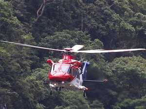 Rescue chopper evacuates injured trail walker