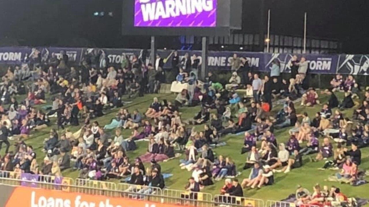 6000-strong crowd at Sunshine Coast Stadium for Melbourne Storm versus Gold Coast Titans game.
