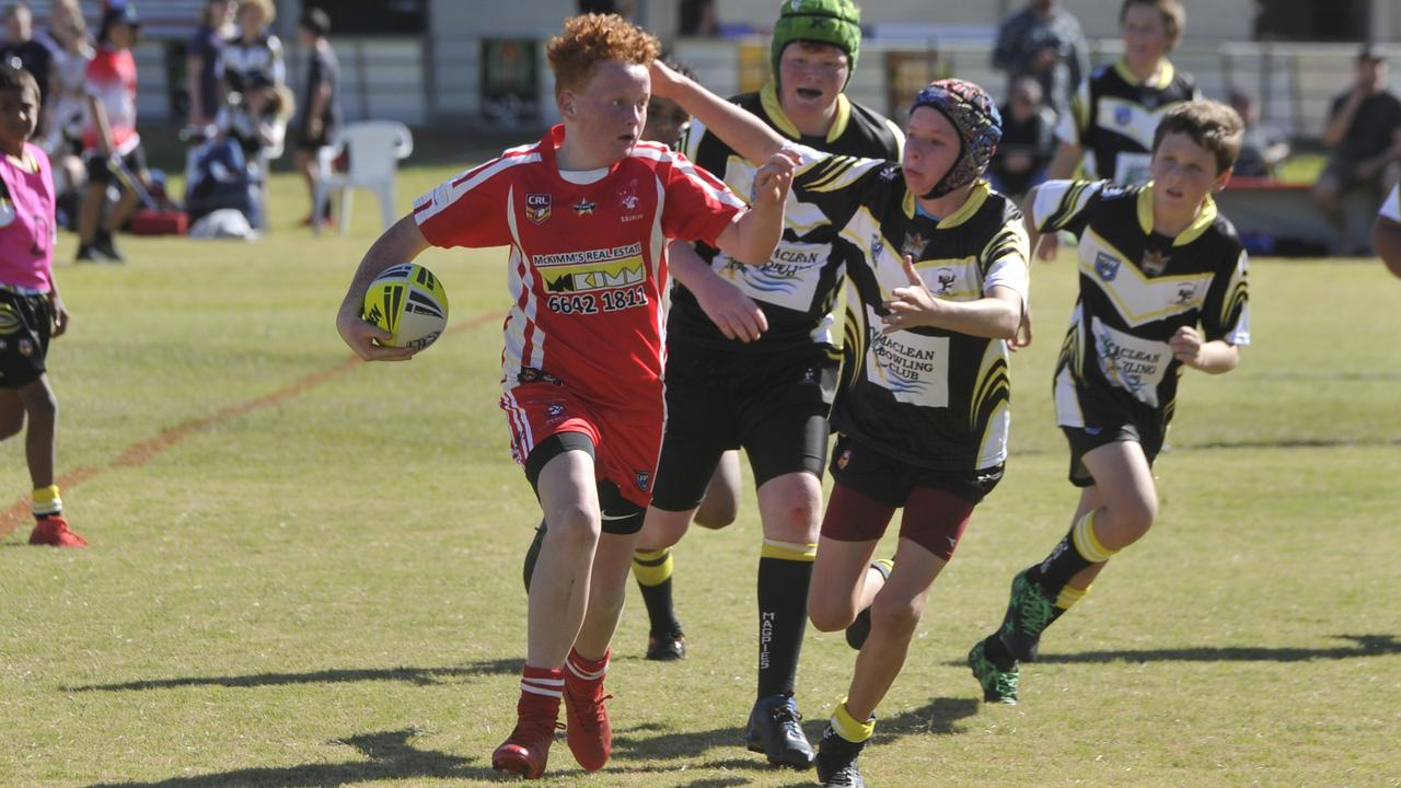 Action from the under-12 clash between South Grafton Rebels and Clarence Coast Magpies during round 1 of the 2020 Group 1 Junior Rugby League season at McKittrick Park on Saturday, July 18.