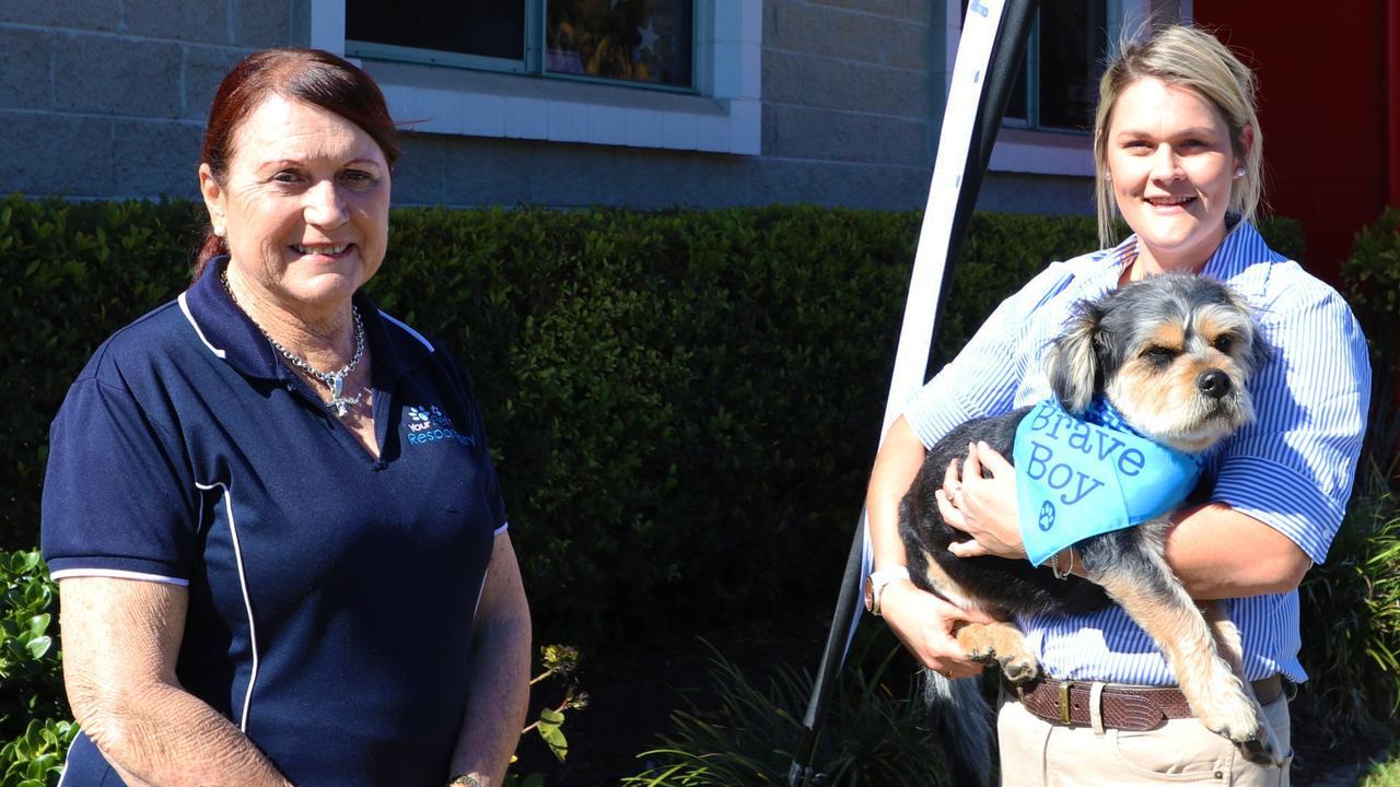 Councillor Ellen Smith with Nurse Riley and Bailey the dog.
