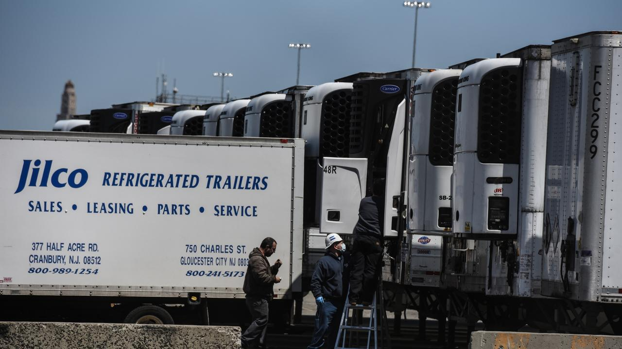 Arizona and Texas counties are now ordering refrigerated trucks as they see a surge in virus deaths as Brooklyn, NY (above) did in May. Picture: Stephanie Keith/Getty