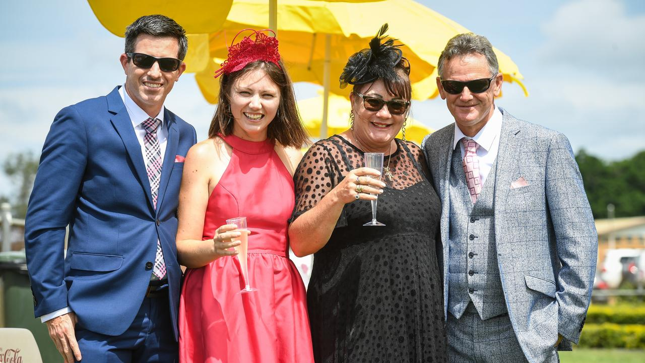 Graham and Gemma OShanesy with Phyllis and Peter Stephenson at the races.