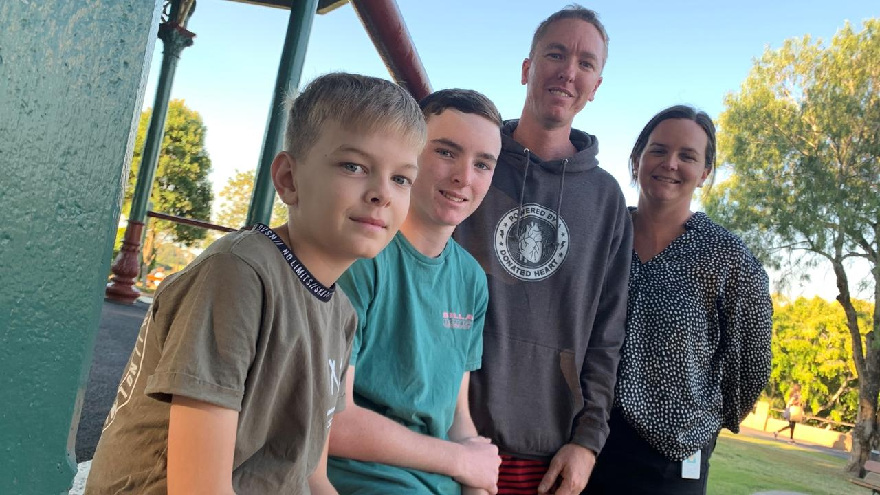 Maryborough's Blake, Jack, Matt and Claire Phillips are grateful to Matt's heart donor, who has given him a new lease on life.