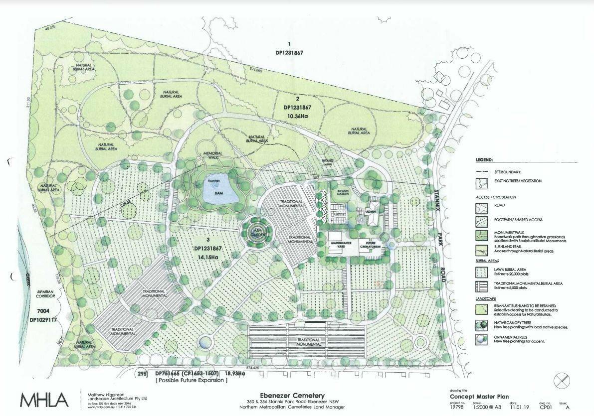The new Ebenezer cemetery plan.