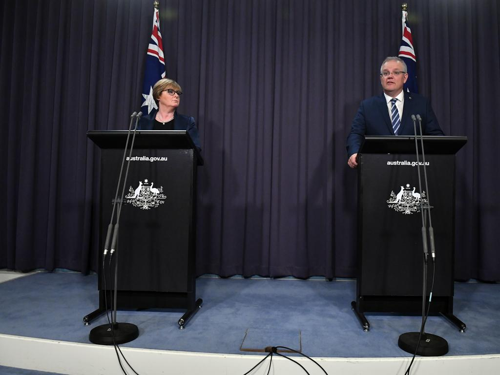 Defence Linda Reynolds and Prime Minister Scott Morrison revealing a state-based cyber attack targeting the Australian government and business in June. Picture Mick Tsikas
