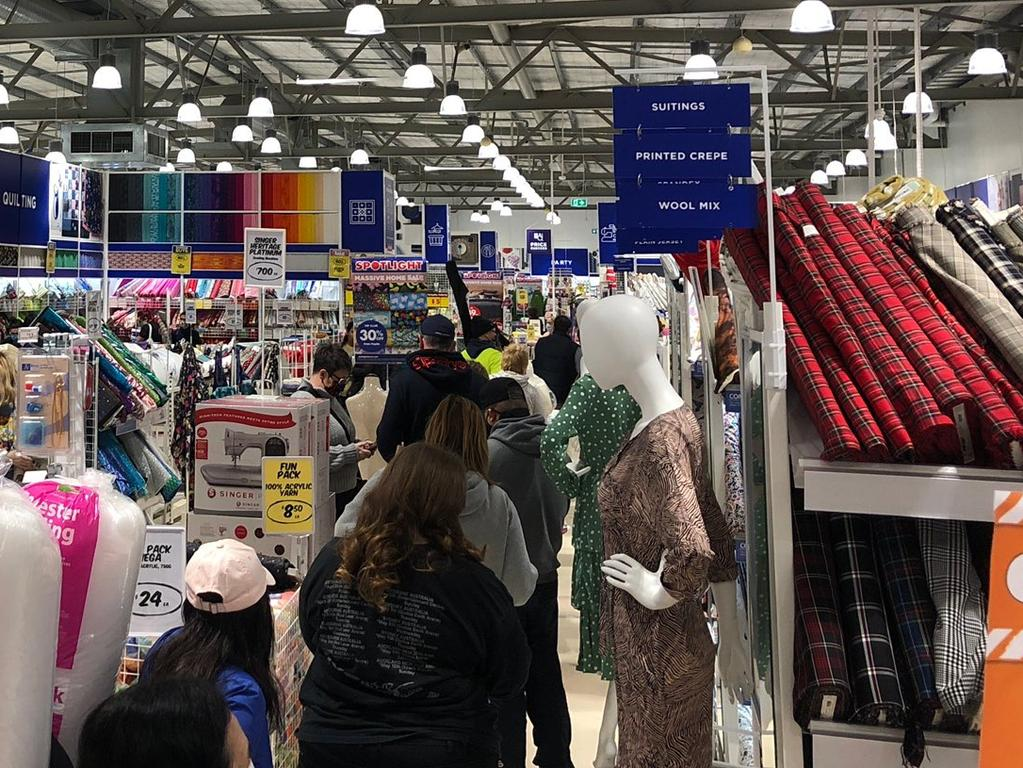 Victoria's new mandatory face mask rule has caused a frenzy for the essential item in stores across Melbourne. Picture: Twitter