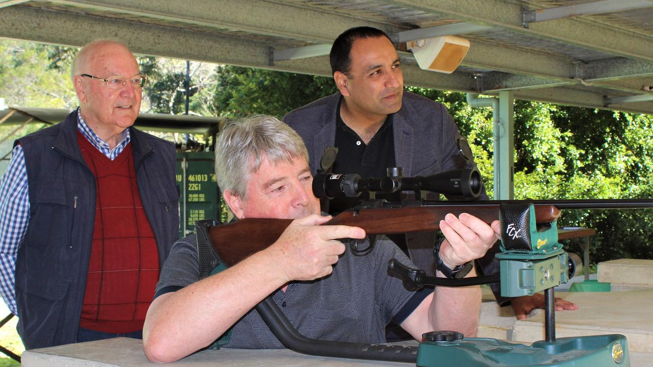 Coffs Harbour MP Gurmesh Singh with Sporting Shooters Association Australia Coffs Harbour president Rod Madeley and vice-president Lance Miller. Photo: Tim Jarrett