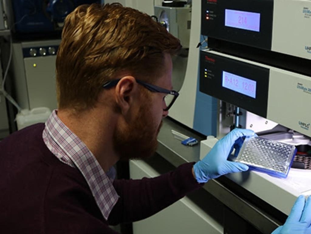 Dr Matt Dun at work at the Hunter Medical Research Institute.