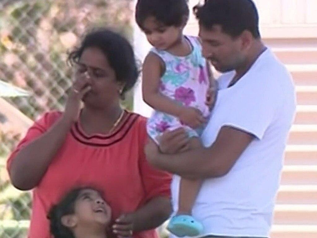 Tamil family Nadesalingam Murugapan, Kokilapathmapriya Nadarasa and their children, Kopika and Tharunicaa. Picture: Ten News