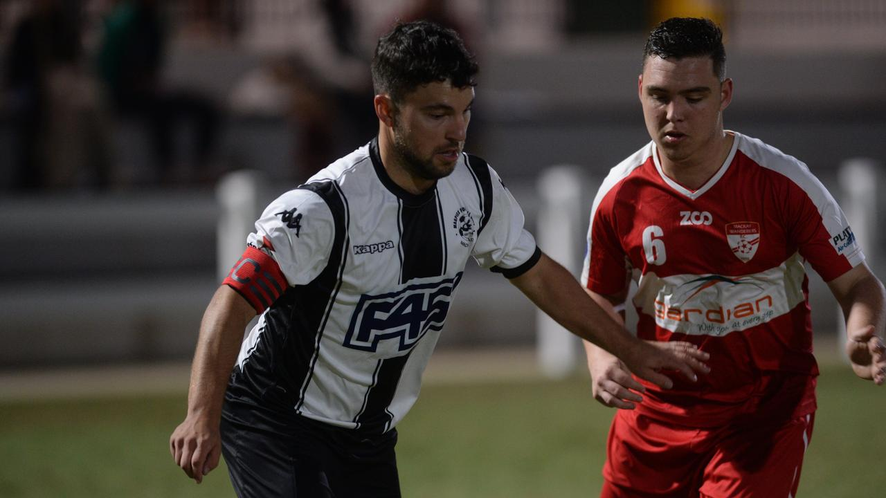 Magpies defeated Wanderers 12-nil in the Mackay Premier League Round 2 fixture at Sologinkin Oval on Saturday night. Magpies' Daniel Reponen.