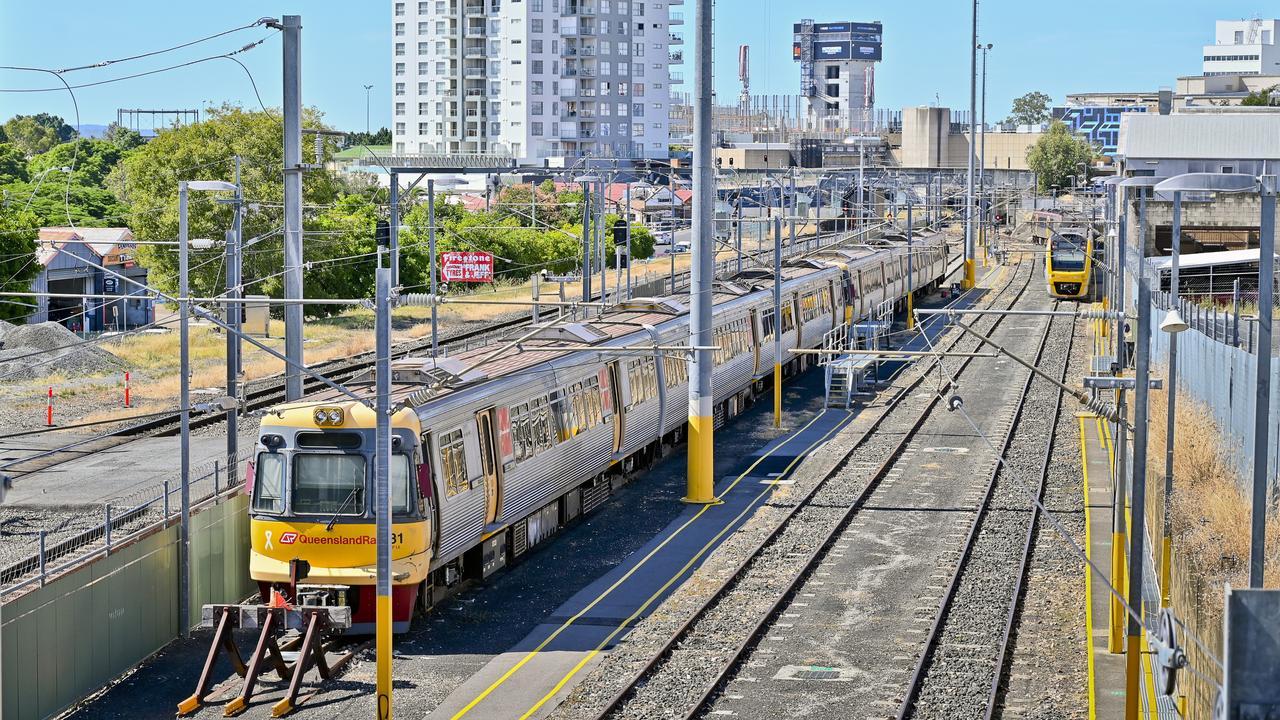 Queensland Rail train in the Ipswich CBD. Picture: Cordell Richardson