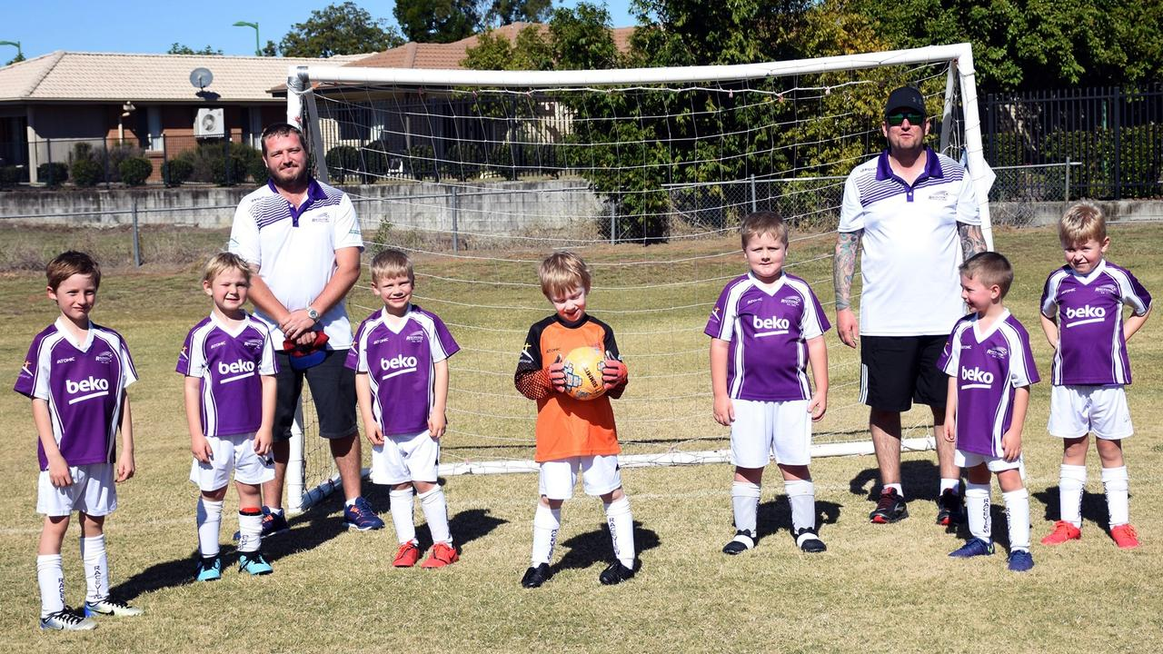 Raceview junior church soccer players prepare to enjoy their latest game as the club continues to help the community. Picture: Gary Reid