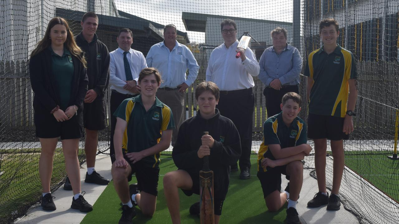 (Back, from left) Keyra Smith, Jack Dwyer, principal Don McDermid, Mayor Andrew Willcox, Dawson MP George Christensen, Grady Turner, (front, from left) Ben Nosworthy, Ben Valmadre and Darcy Milne at Proserpine State High School's new cricket nets.