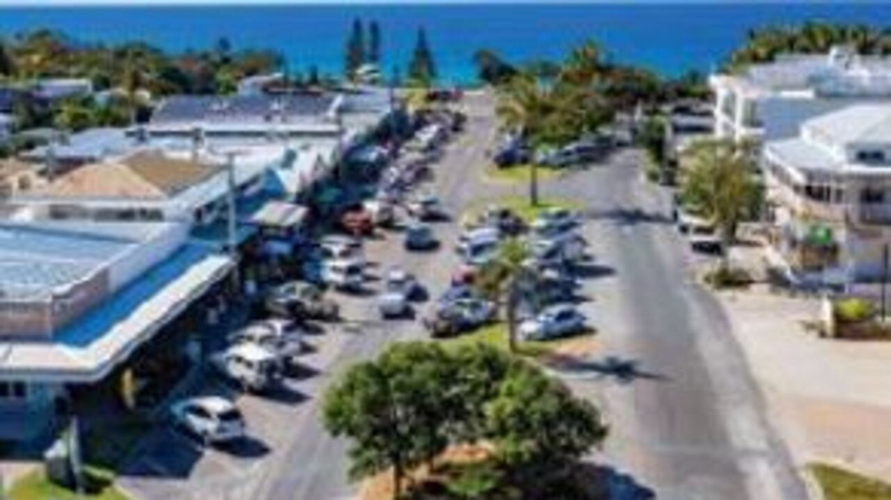 Stage 1 of the Rainbow Beach town centre revamp was completed earlier in the year – including removal of above ground power lines.