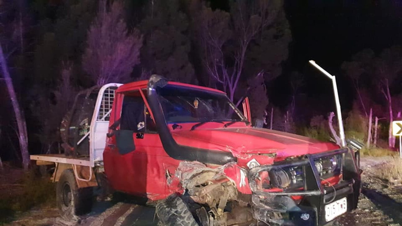 Three people were involved in a serious crash near Rainbow Beach on Saturday night. Pictures: Dylan Hogg