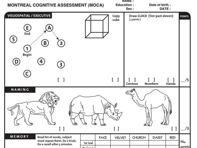 "Part of the Montreal Cognitive Assessment, which Mr Trump has bragged about ""acing""."
