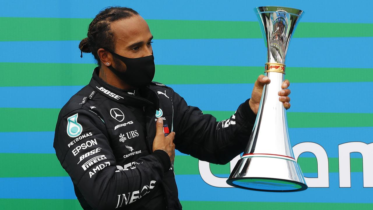 Hamilton certainly wasn't rushed as he cruised to victory in the race. (Photo by Leonhard Foeger/Pool via Getty Images)