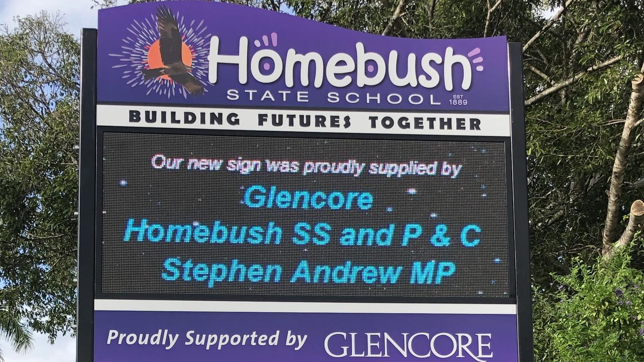 The new sign installed at Homebush State School. Picture: Contributed.