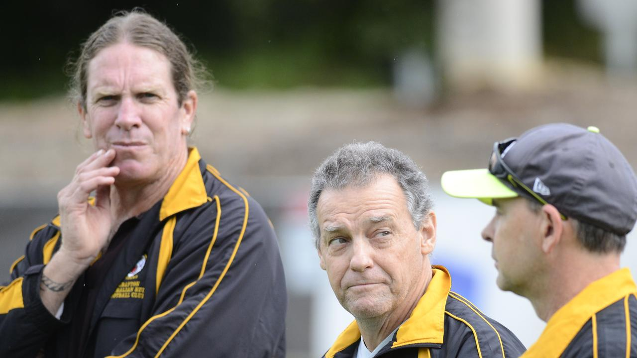 BRAINS TRUST: Grafton Tigers coaching staff including Chris Leslie and Warren Bagnall at the 2018 AFL North Coast Youth Girls grand final at C.ex International Stadium in Coffs Harbour.