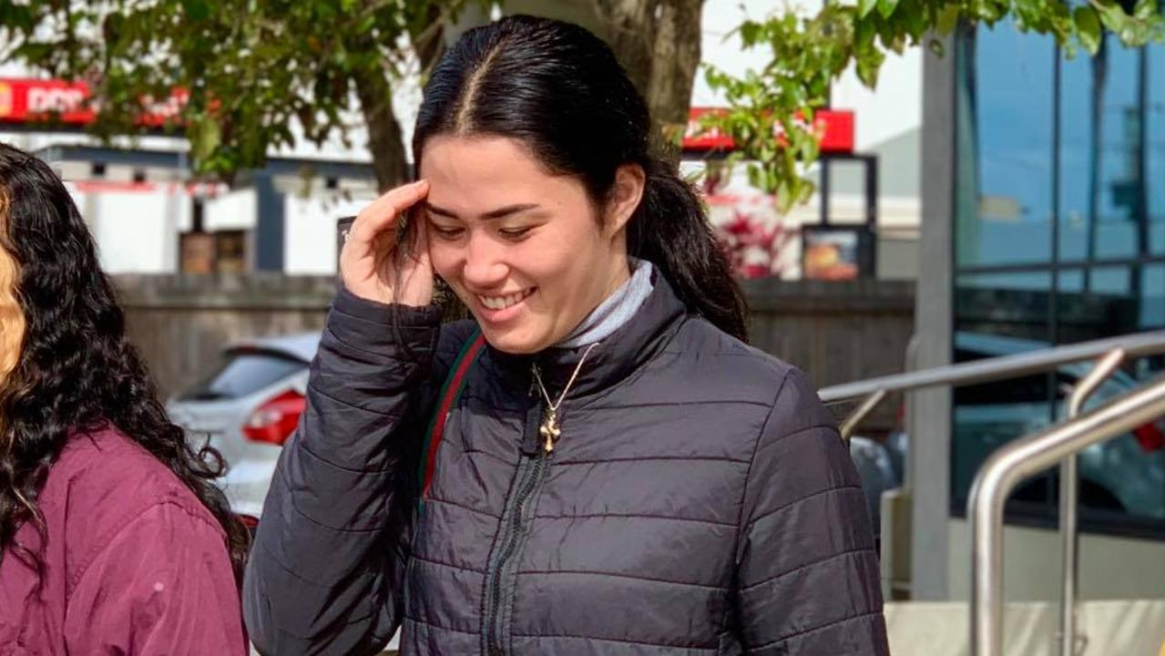 Three men were robbed at their Golden Beach home after Shyra Karera Kena Allcock, pictured outside court, began talking to one of them over Facebook.
